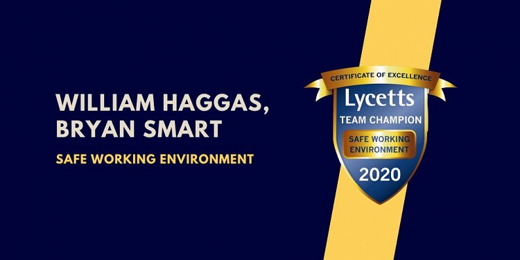 Our Certificate of Excellence for providing a Safe Working Environment - Lycetts Team Champion Awards 2020